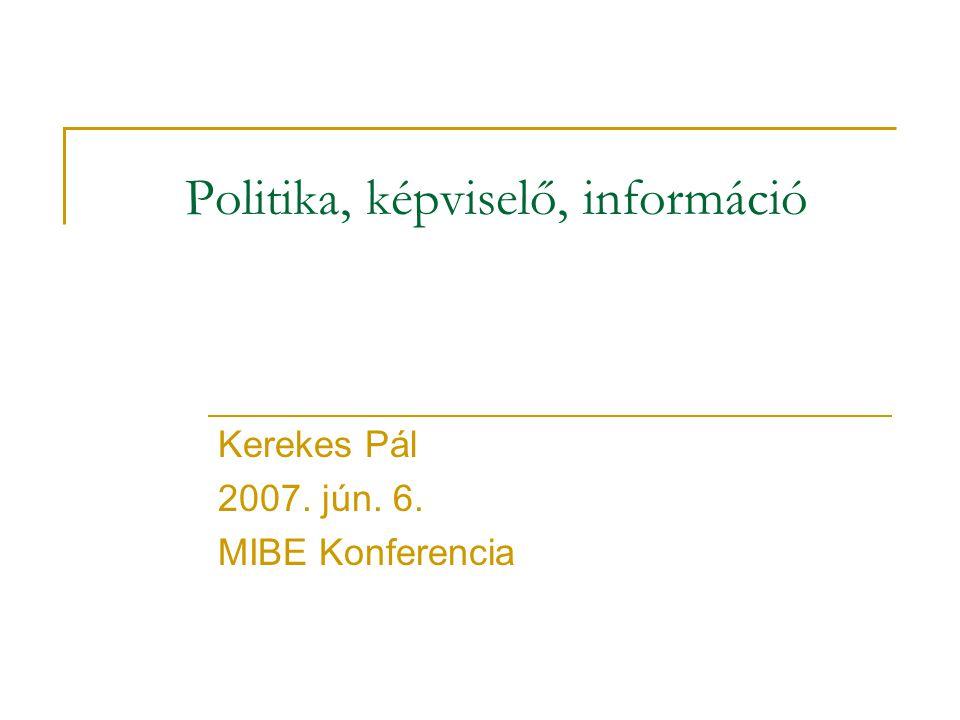 Politika, képviselő, információ Kerekes Pál 2007. jún. 6. MIBE Konferencia