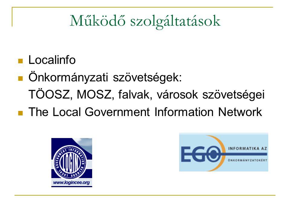 Működő szolgáltatások Localinfo Önkormányzati szövetségek: TÖOSZ, MOSZ, falvak, városok szövetségei The Local Government Information Network