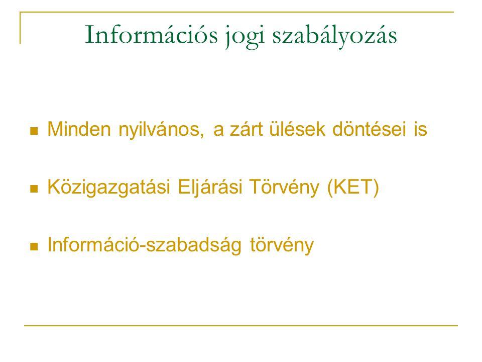 Információs jogi szabályozás Minden nyilvános, a zárt ülések döntései is Közigazgatási Eljárási Törvény (KET) Információ-szabadság törvény