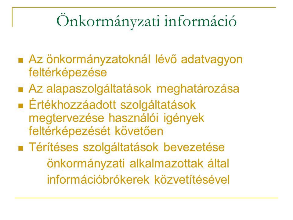 Önkormányzati információ Az önkormányzatoknál lévő adatvagyon feltérképezése Az alapaszolgáltatások meghatározása Értékhozzáadott szolgáltatások megtervezése használói igények feltérképezését követően Térítéses szolgáltatások bevezetése önkormányzati alkalmazottak által információbrókerek közvetítésével