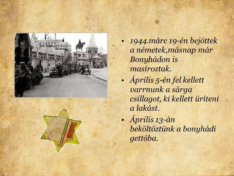 1938-ban jött az első zsidótörvény. Sem a tanáraim,sem az osztálytársaim nem éreztették velem, hogy másodrendű vagyok. Kitűnőre érettségiztem, de a nu
