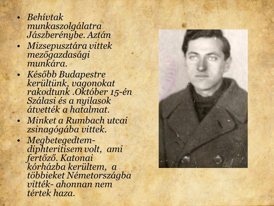 1944.márc 19-én bejöttek a németek,másnap már Bonyhádon is masíroztak. Április 5-én fel kellett varrnunk a sárga csillagot, ki kellett üríteni a lakás