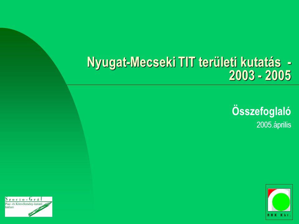 Nyugat-Mecseki TIT területi kutatás - 2003 - 2005 Összefoglaló 2005.április