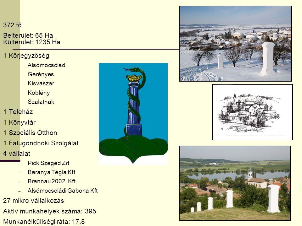 372 fő Belterület: 65 Ha Külterület: 1235 Ha 1 Körjegyzőség Alsómocsolád Gerényes Kisvaszar Köblény Szalatnak 1 Teleház 1 Könyvtár 1 Szociális Otthon 1 Falugondnoki Szolgálat 4 vállalat  Pick Szeged Zrt  Baranya Tégla Kft  Brannau 2002.