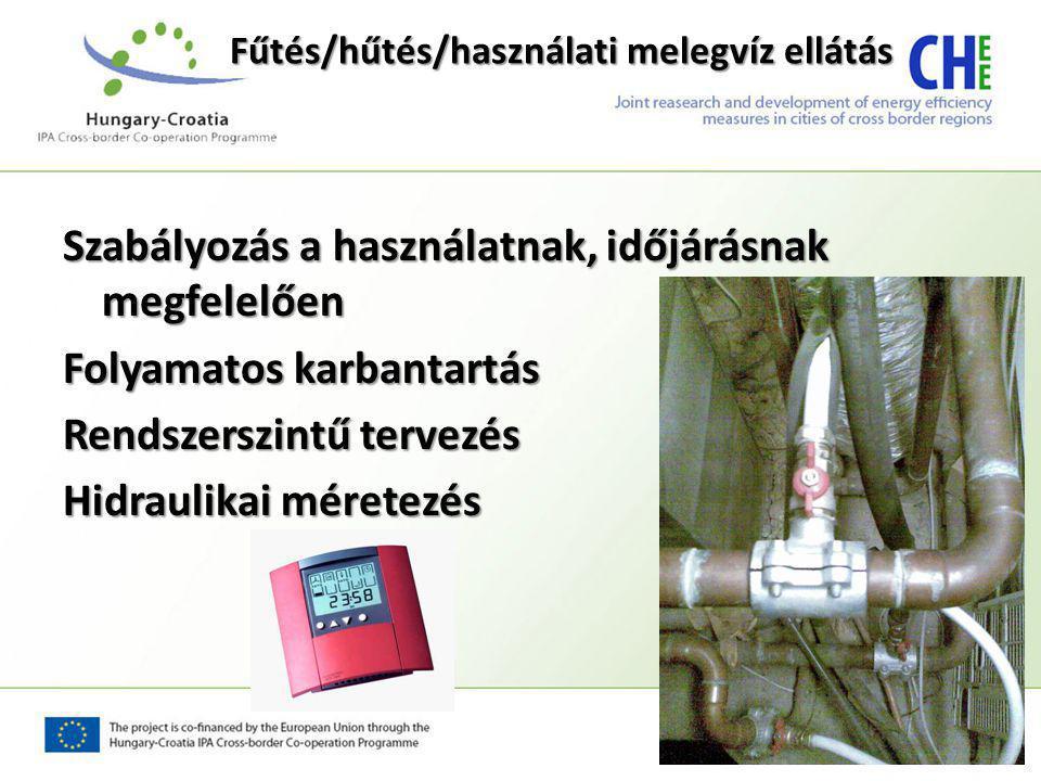 Fűtés/hűtés/használati melegvíz ellátás Szabályozás a használatnak, időjárásnak megfelelően Folyamatos karbantartás Rendszerszintű tervezés Hidraulikai méretezés