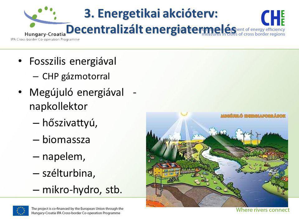 Fosszilis energiával – CHP gázmotorral Megújuló energiával - napkollektor – hőszivattyú, – biomassza – napelem, – szélturbina, – mikro-hydro, stb.