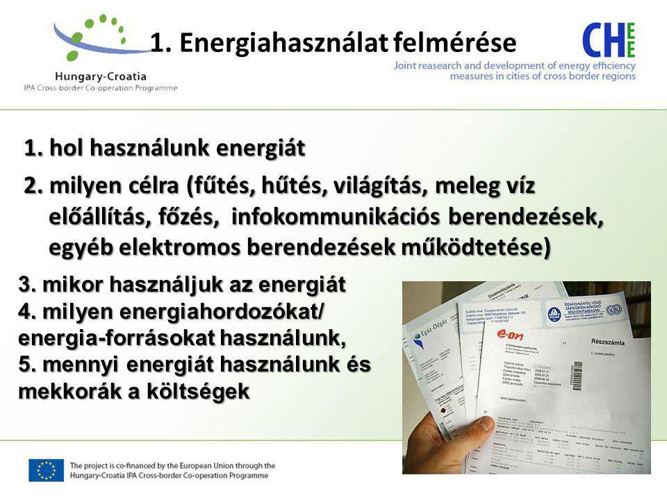 1. Energiahasználat felmérése 1. hol használunk energiát 2. milyen célra (fűtés, hűtés, világítás, meleg víz előállítás, főzés, infokommunikációs bere