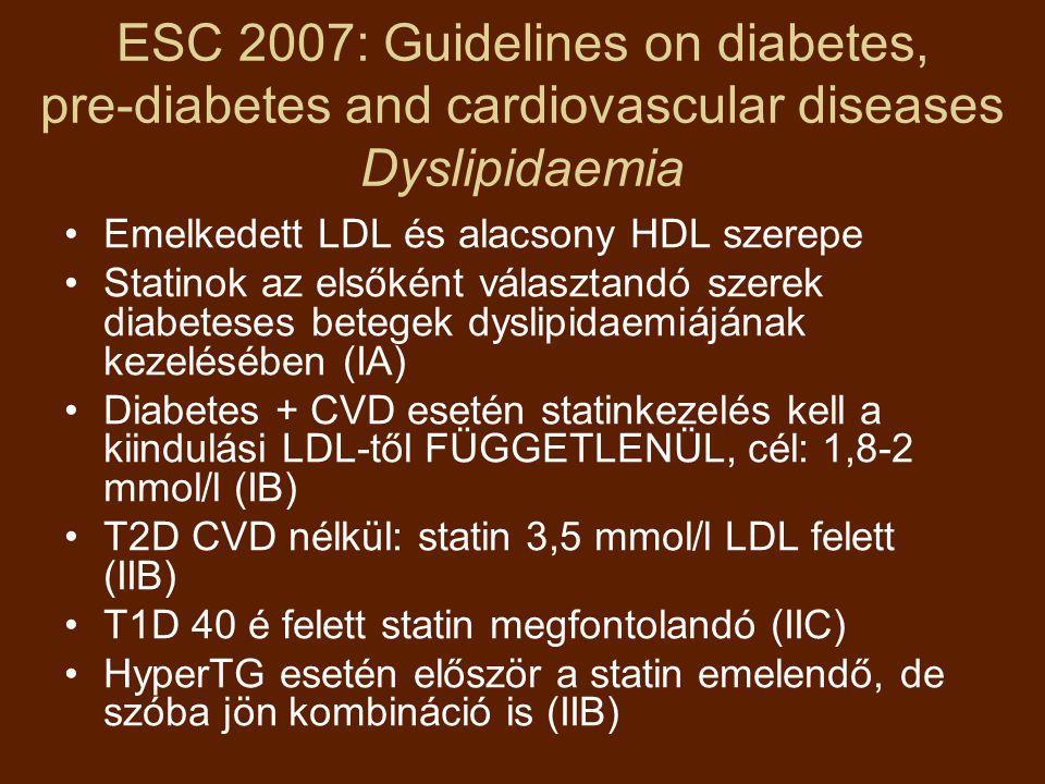 ESC 2007: Guidelines on diabetes, pre-diabetes and cardiovascular diseases Dyslipidaemia Emelkedett LDL és alacsony HDL szerepe Statinok az elsőként választandó szerek diabeteses betegek dyslipidaemiájának kezelésében (IA) Diabetes + CVD esetén statinkezelés kell a kiindulási LDL-től FÜGGETLENÜL, cél: 1,8-2 mmol/l (IB) T2D CVD nélkül: statin 3,5 mmol/l LDL felett (IIB) T1D 40 é felett statin megfontolandó (IIC) HyperTG esetén először a statin emelendő, de szóba jön kombináció is (IIB)