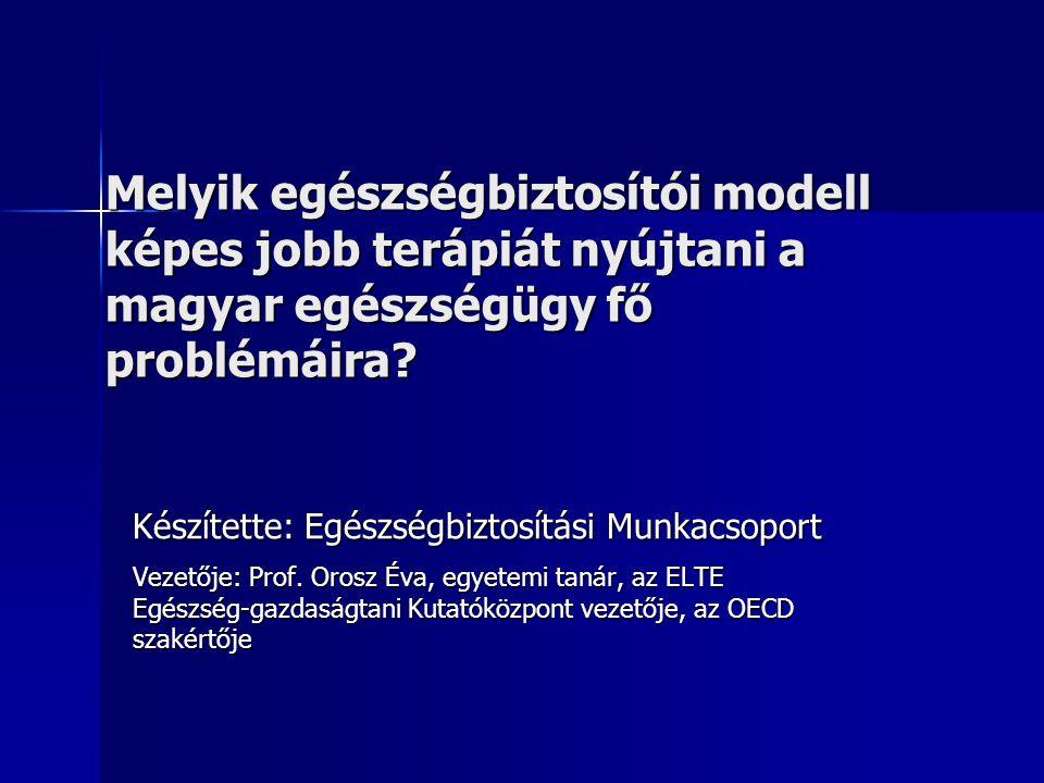 Melyik egészségbiztosítói modell képes jobb terápiát nyújtani a magyar egészségügy fő problémáira.
