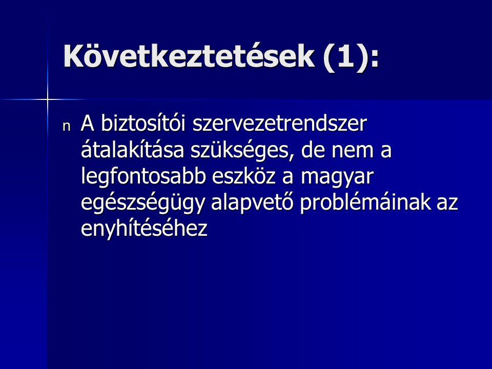 Következtetések (1): n A biztosítói szervezetrendszer átalakítása szükséges, de nem a legfontosabb eszköz a magyar egészségügy alapvető problémáinak az enyhítéséhez