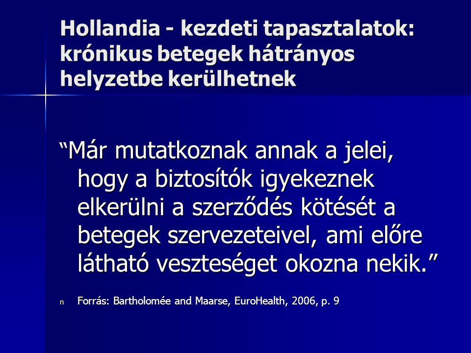 Hollandia - kezdeti tapasztalatok: krónikus betegek hátrányos helyzetbe kerülhetnek Már mutatkoznak annak a jelei, hogy a biztosítók igyekeznek elkerülni a szerződés kötését a betegek szervezeteivel, ami előre látható veszteséget okozna nekik. n Forrás: Bartholomée and Maarse, EuroHealth, 2006, p.
