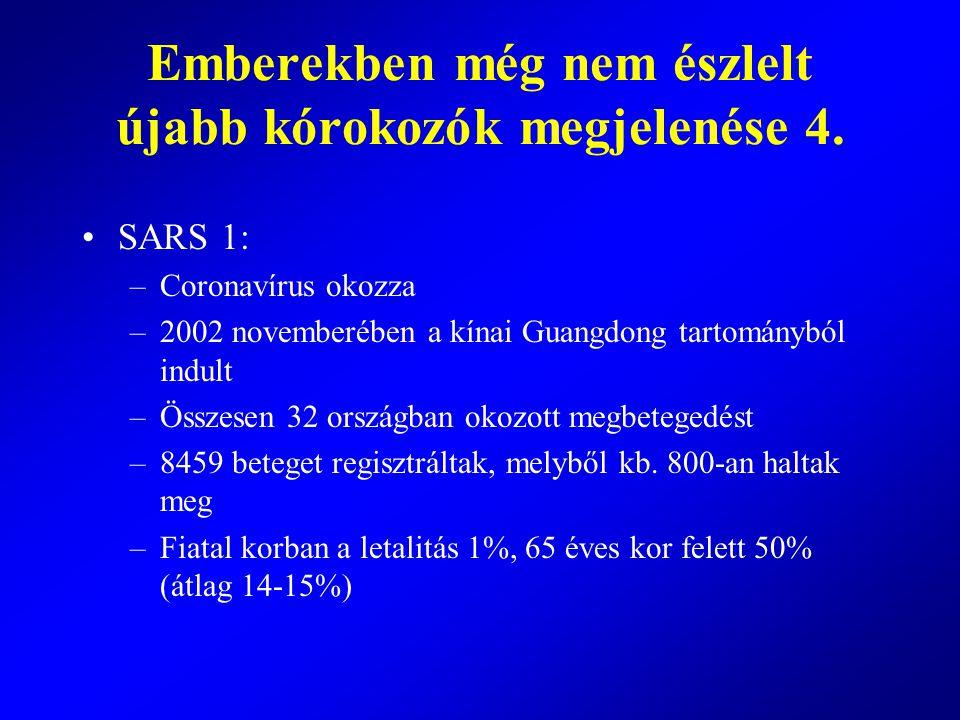 SARS 1: –Coronavírus okozza –2002 novemberében a kínai Guangdong tartományból indult –Összesen 32 országban okozott megbetegedést –8459 beteget regisz