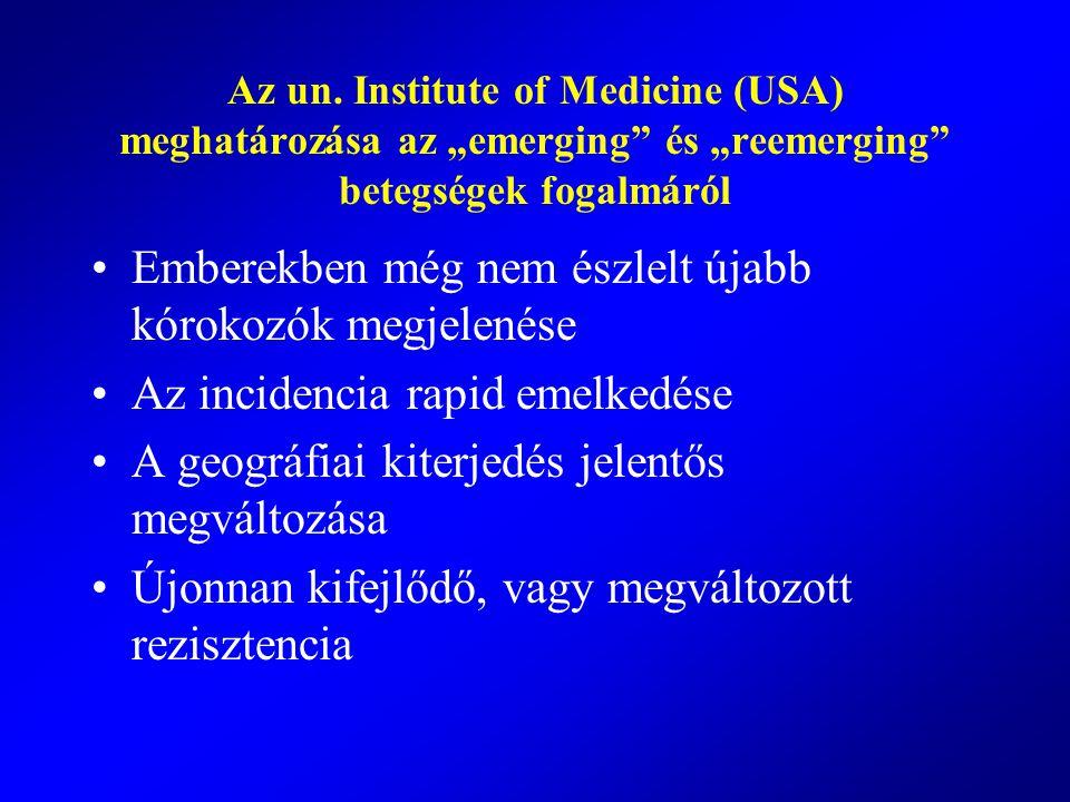 """Az un. Institute of Medicine (USA) meghatározása az """"emerging"""" és """"reemerging"""" betegségek fogalmáról Emberekben még nem észlelt újabb kórokozók megjel"""