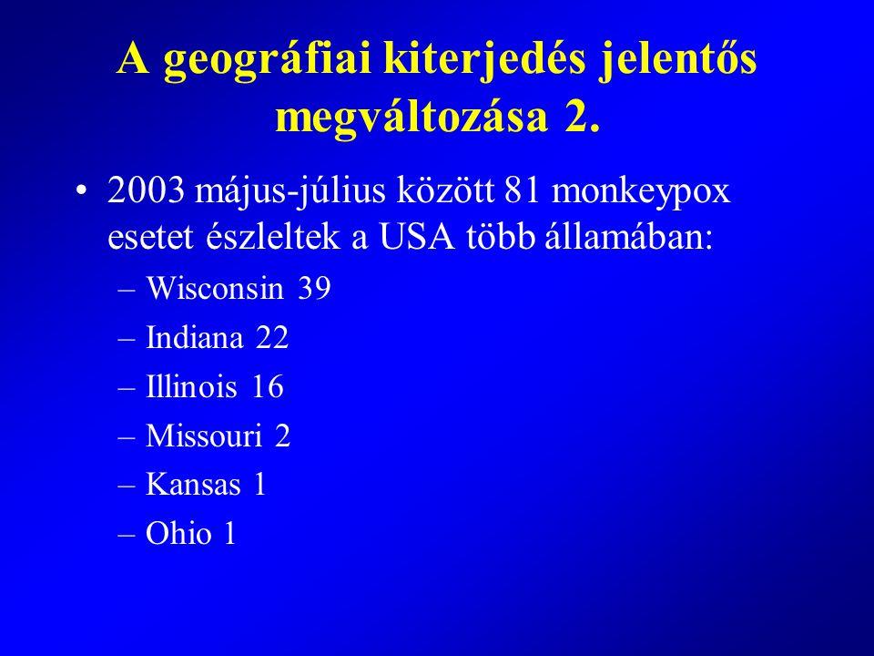2003 május-július között 81 monkeypox esetet észleltek a USA több államában: –Wisconsin 39 –Indiana 22 –Illinois 16 –Missouri 2 –Kansas 1 –Ohio 1 A ge