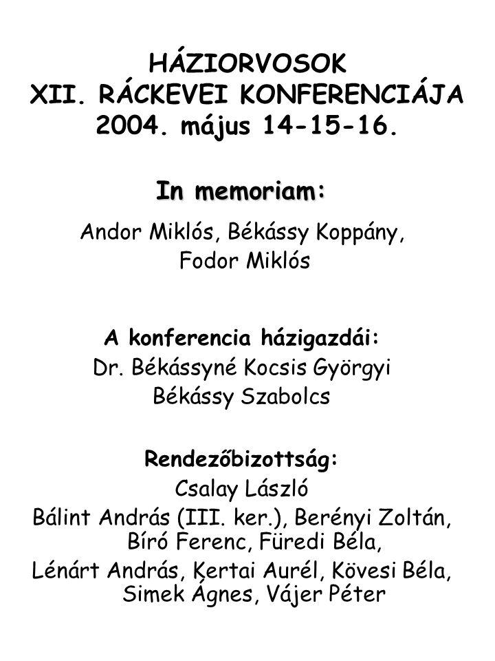 HÁZIORVOSOK XII. RÁCKEVEI KONFERENCIÁJA 2004. május 14-15-16. In memoriam: Andor Miklós, Békássy Koppány, Fodor Miklós A konferencia házigazdái: Dr. B