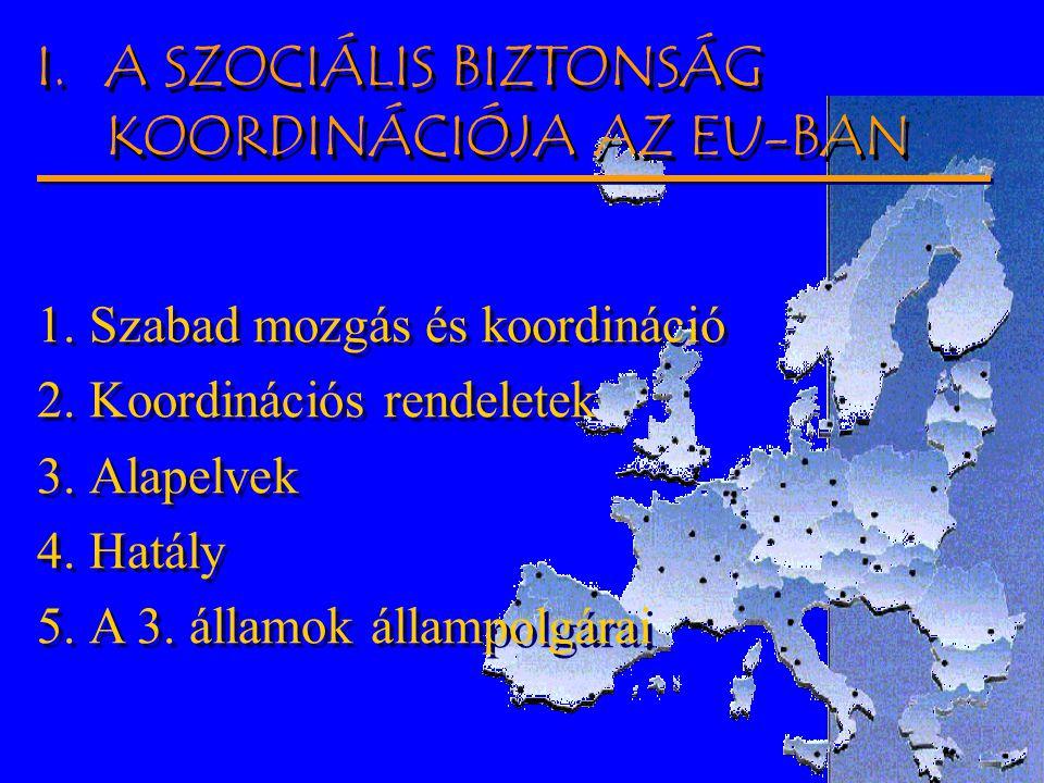 2004-03-27.Dr. Balogh Tamás - OEP 2 I.A SZOCIÁLIS BIZTONSÁG KOORDINÁCIÓJA AZ EU-BAN 1.Szabad mozgás és koordináció 2.Koordinációs rendeletek 3.Alapelv