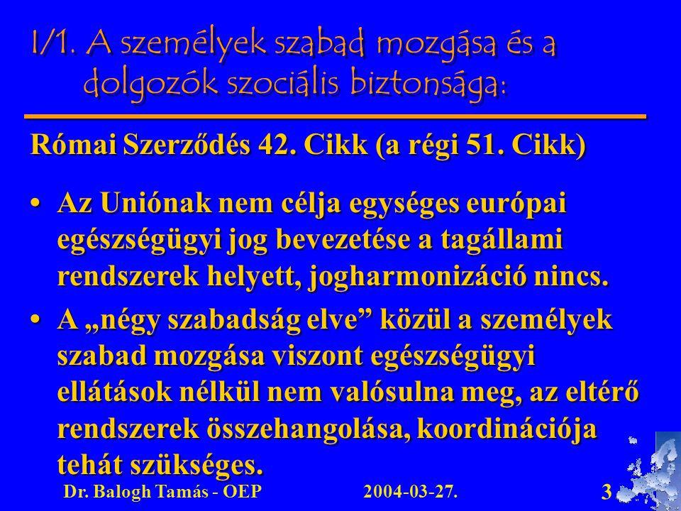 2004-03-27.Dr. Balogh Tamás - OEP 3 Római Szerződés 42. Cikk (a régi 51. Cikk) Az Uniónak nem célja egységes európai egészségügyi jog bevezetése a tag
