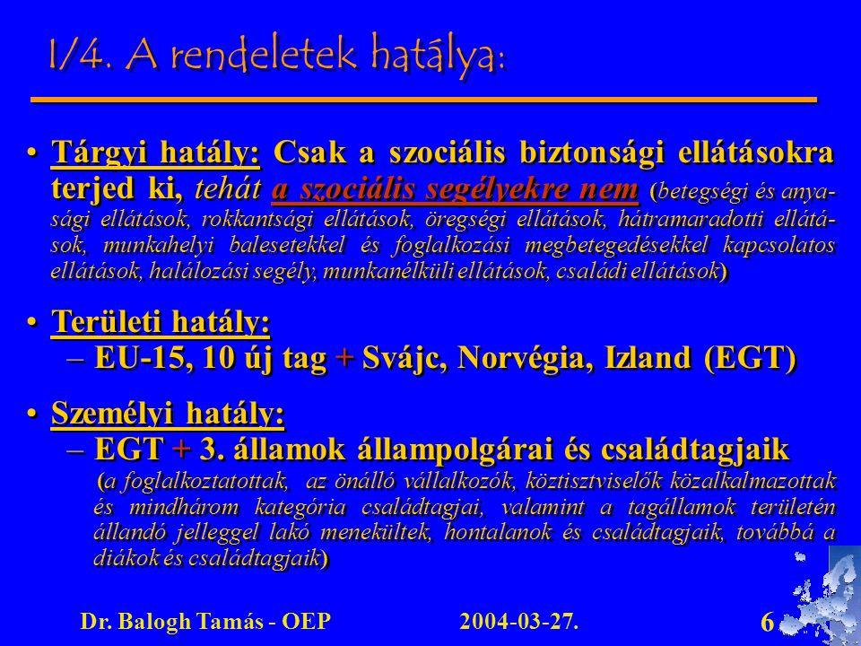 2004-03-27.Dr. Balogh Tamás - OEP 6 I/4. A rendeletek hatálya: Tárgyi hatály: Csak a szociális biztonsági ellátásokra terjed ki, tehát a szociális seg