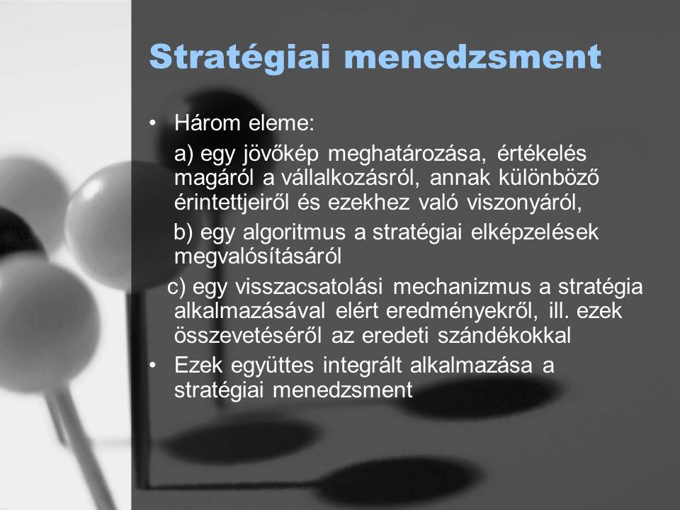 """A stratégiai menedzsment egyes fázisai Helyzetelemzés: külső és belső környezet elemzése Jövőbeni trendek kiindulópontja Meddig """"nyújtózkodhat a vállalat"""