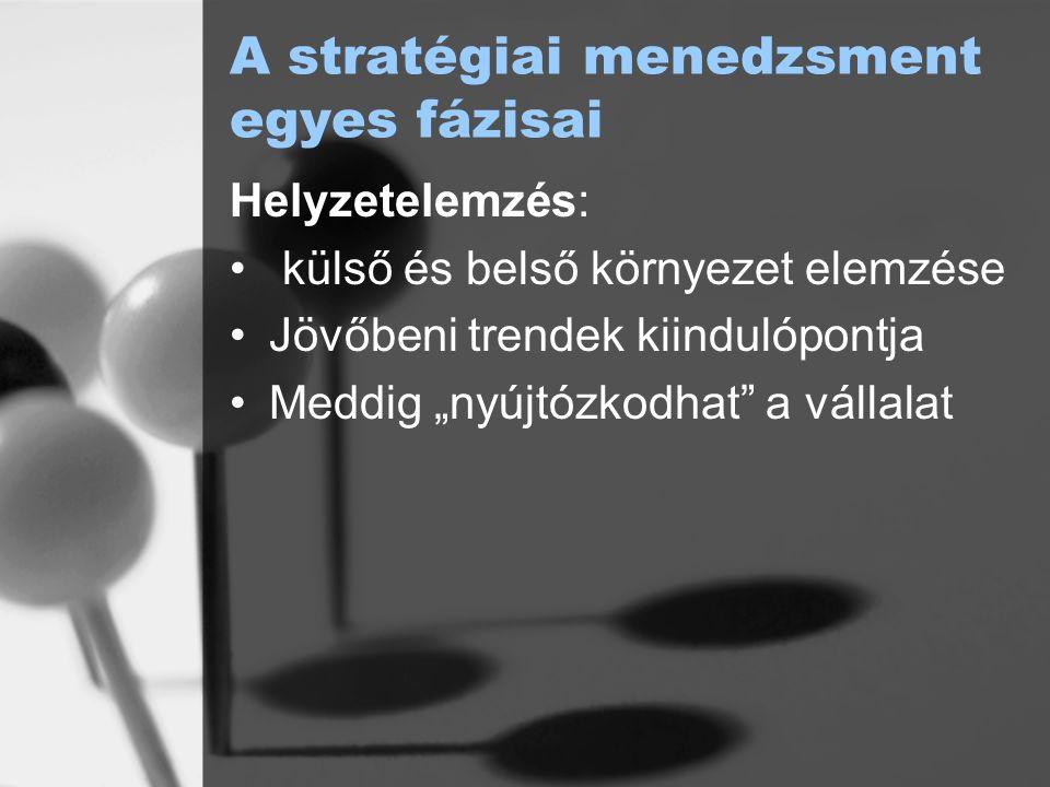 A küldetés kapcsolata a stratégiával Megfogalmazza a működési kör, a belső működési elvek és az érintettekkel való kapcsolat alapelveit Működési kör dimenziói: igények, fogyasztói csoportok, eljárások, (vállalati marketingstratégia és innovációs stratégia függvénye) módszerek, amelyekkel az igényeket kielégítjük