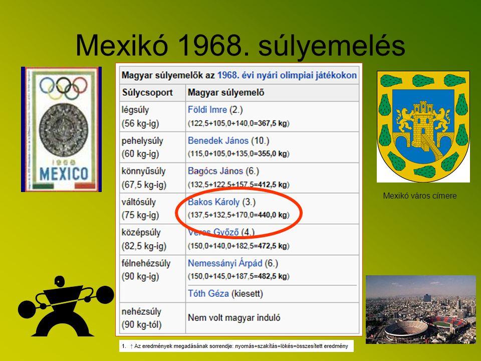 Kiemelkedő eredmények Olimpia Mexikóban Mexikóban rendezték a XIX., nagy magasságú 1968. évi nyári olimpiai játékok olimpiai súlyemelő versenyeit, aho