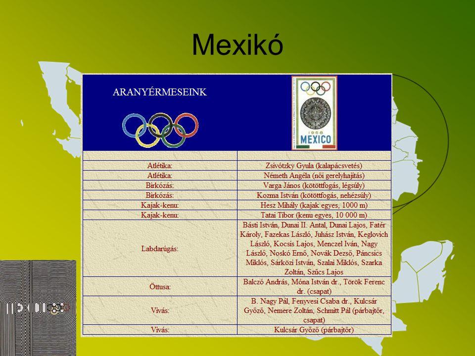 Mexikó Mexikóváros 10 aranyérmet jelentett a magyar sportnak; az 1968-as olimpián a 167 magyar sportoló (135 férfi és 32 nő) ugyanis 32 éremmel, közöt