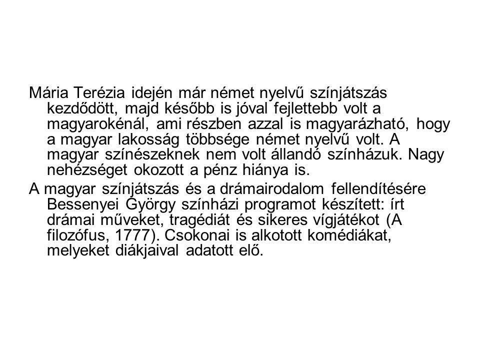 Mária Terézia idején már német nyelvű színjátszás kezdődött, majd később is jóval fejlettebb volt a magyarokénál, ami részben azzal is magyarázható, hogy a magyar lakosság többsége német nyelvű volt.