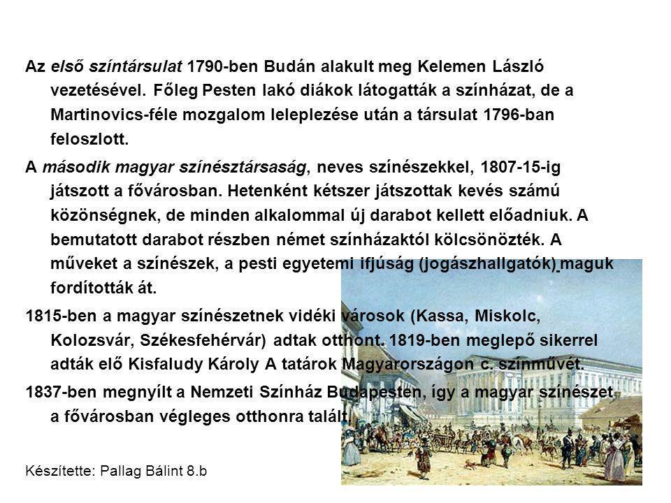 Az első színtársulat 1790-ben Budán alakult meg Kelemen László vezetésével.