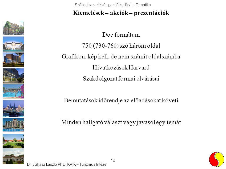 Szállodavezetés és gazdálkodás I. - Tematika Dr. Juhász László PhD, KVIK – Turizmus Intézet 12 Kiemelések – akciók – prezentációk Doc formátum 750 (73