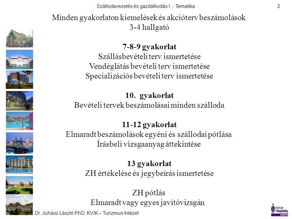 Szállodavezetés és gazdálkodás I. - Tematika Dr. Juhász László PhD, KVIK – Turizmus Intézet 2 Minden gyakorlaton kiemelések és akcióterv beszámolások