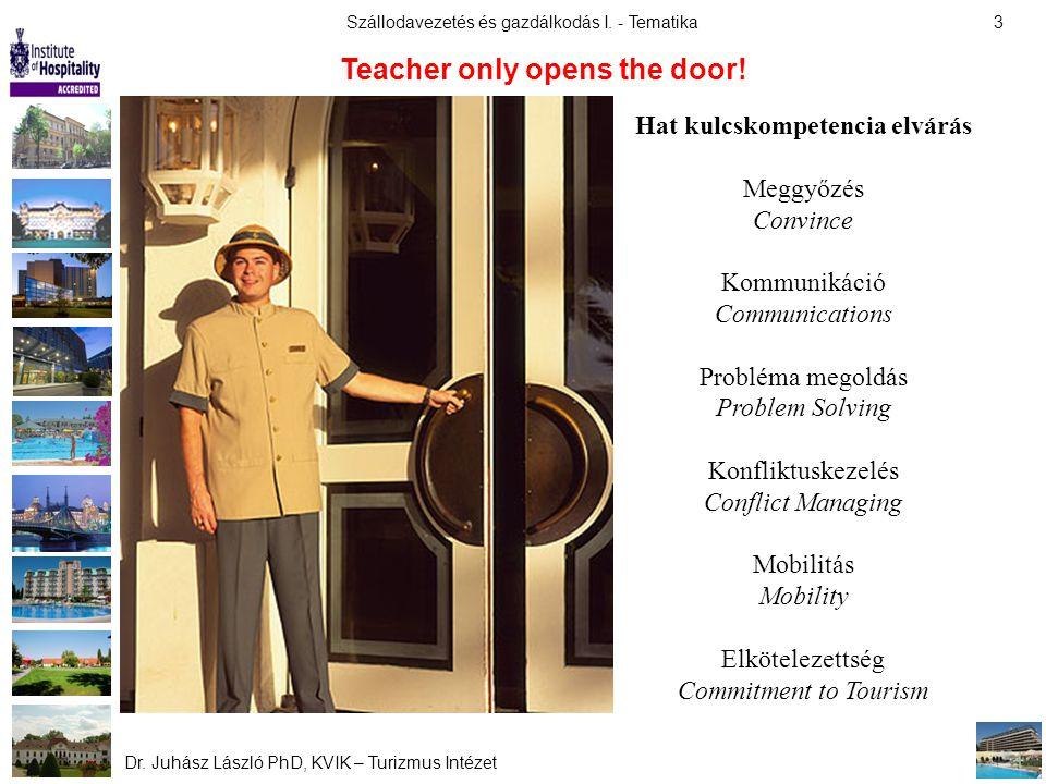 Szállodavezetés és gazdálkodás I. - Tematika Dr. Juhász László PhD, KVIK – Turizmus Intézet 3 Teacher only opens the door! Hat kulcskompetencia elvárá
