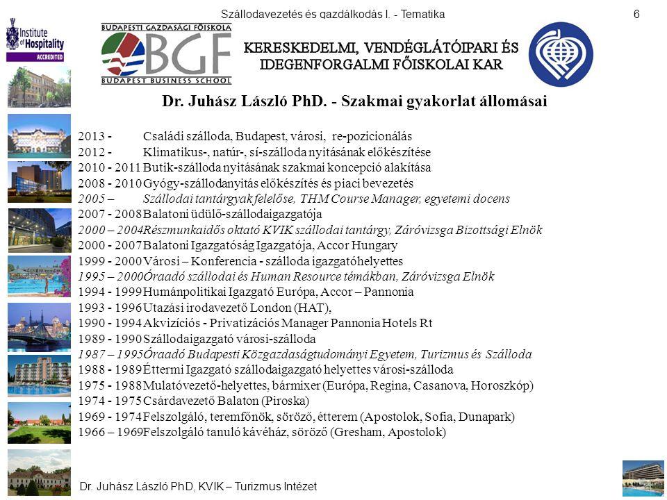 Szállodavezetés és gazdálkodás I. - Tematika Dr. Juhász László PhD, KVIK – Turizmus Intézet 6 Dr. Juhász László PhD. - Szakmai gyakorlat állomásai 201