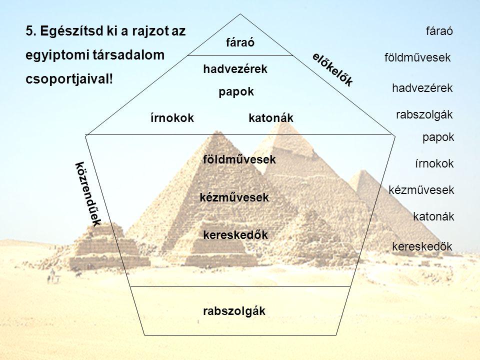 5.Egészítsd ki a rajzot az egyiptomi társadalom csoportjaival.