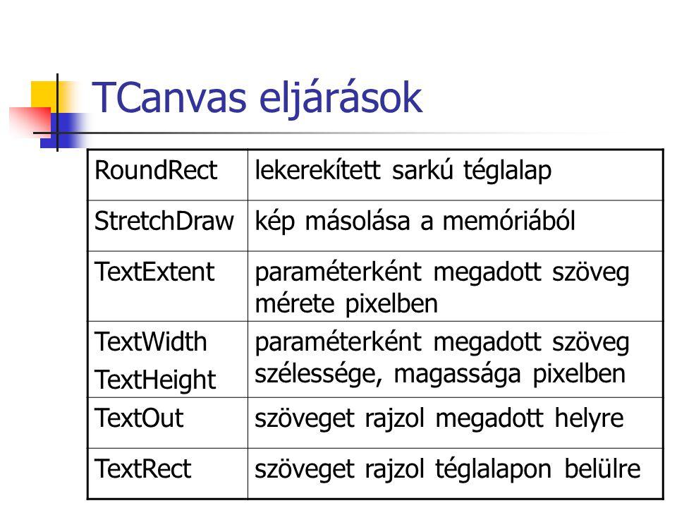 TCanvas eljárások RoundRectlekerekített sarkú téglalap StretchDrawkép másolása a memóriából TextExtentparaméterként megadott szöveg mérete pixelben Te
