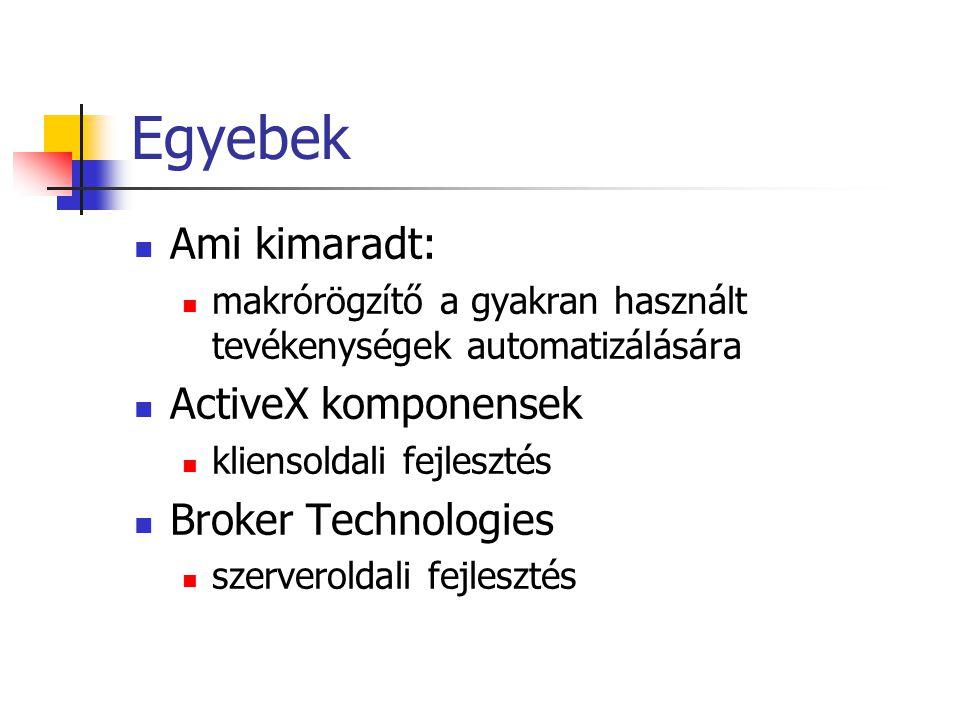 OLE objektum beolvasása procedure TForm1.CreateObjectClick(Sender: TObject); begin OleContainer1.CreateObjectFromFile (ExpandFileName( teszt.doc ), false); end; procedure TForm1.LoadFromFileClick(Sender: TObject); begin OleContainer1.LoadFromFile( teszt.doc ); end;