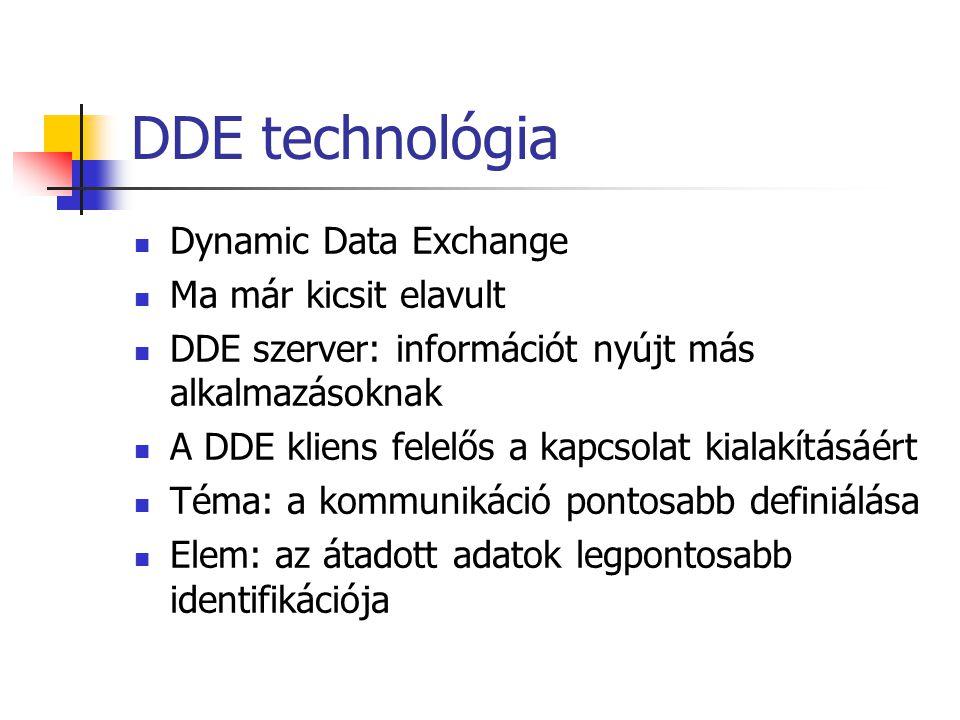 DDE technológia Dynamic Data Exchange Ma már kicsit elavult DDE szerver: információt nyújt más alkalmazásoknak A DDE kliens felelős a kapcsolat kialak