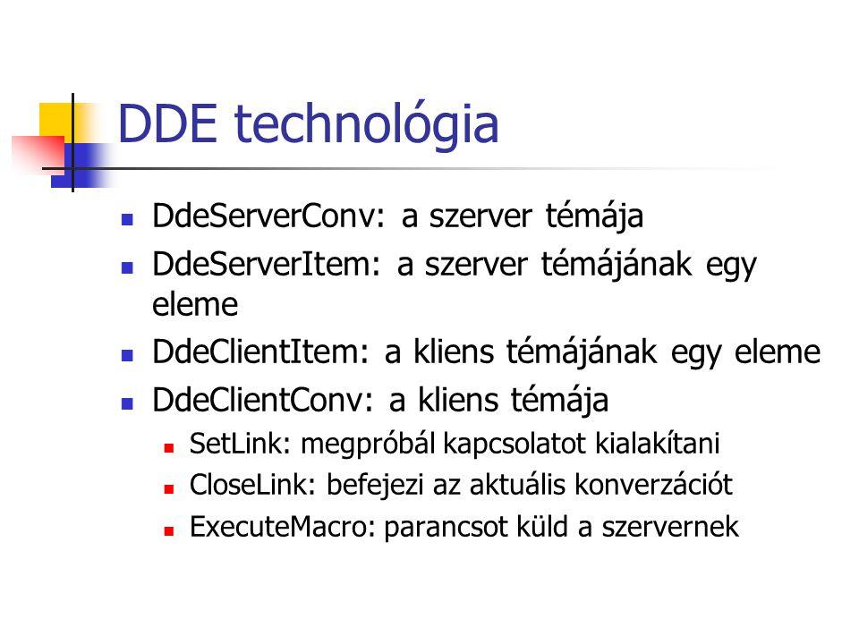 DDE technológia DdeServerConv: a szerver témája DdeServerItem: a szerver témájának egy eleme DdeClientItem: a kliens témájának egy eleme DdeClientConv: a kliens témája SetLink: megpróbál kapcsolatot kialakítani CloseLink: befejezi az aktuális konverzációt ExecuteMacro: parancsot küld a szervernek