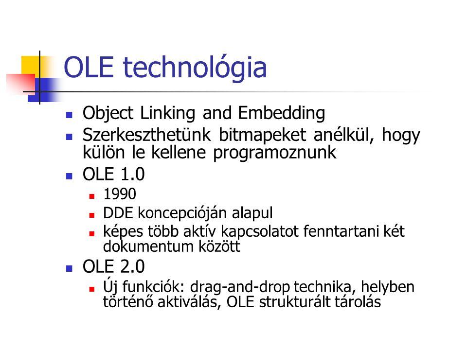 OLE technológia Object Linking and Embedding Szerkeszthetünk bitmapeket anélkül, hogy külön le kellene programoznunk OLE 1.0 1990 DDE koncepcióján ala