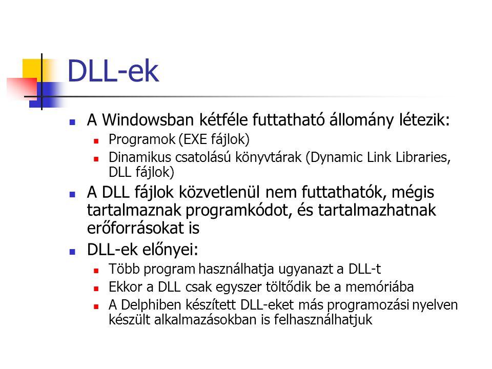 DLL-ek A Windowsban kétféle futtatható állomány létezik: Programok (EXE fájlok) Dinamikus csatolású könyvtárak (Dynamic Link Libraries, DLL fájlok) A