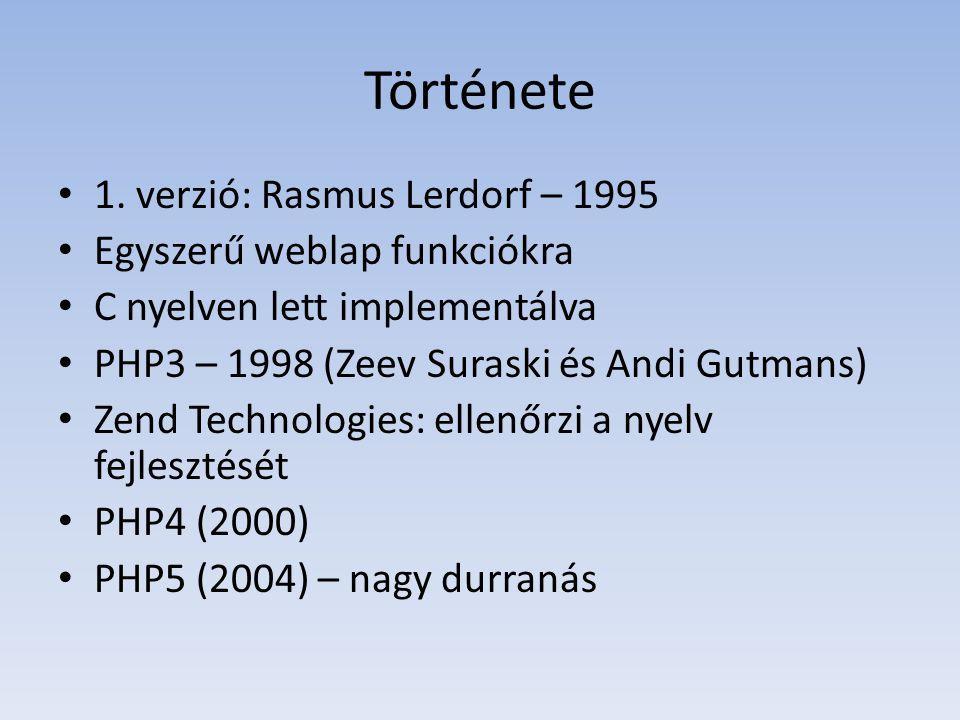 Története 1. verzió: Rasmus Lerdorf – 1995 Egyszerű weblap funkciókra C nyelven lett implementálva PHP3 – 1998 (Zeev Suraski és Andi Gutmans) Zend Tec