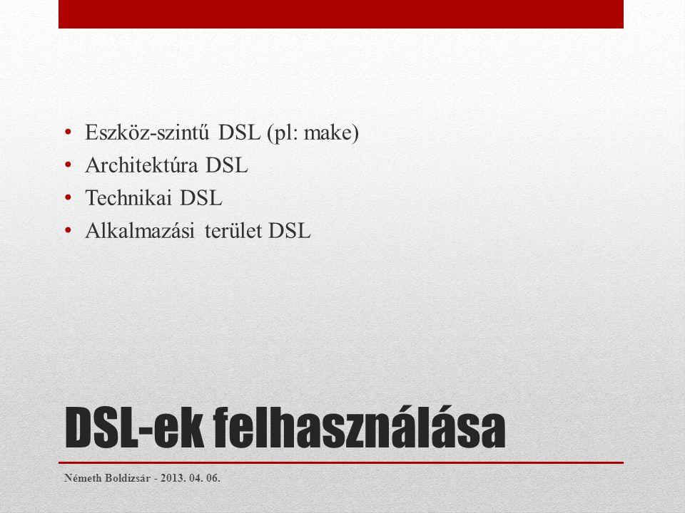 DSL-ek felhasználása Eszköz-szintű DSL (pl: make) Architektúra DSL Technikai DSL Alkalmazási terület DSL Németh Boldizsár - 2013.