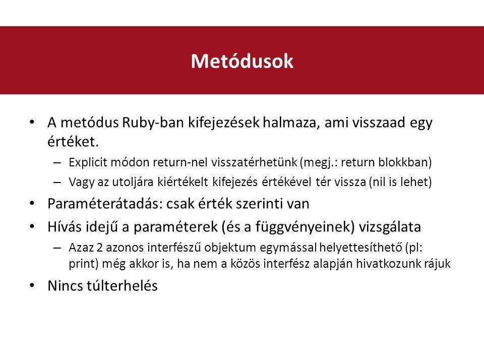 A metódus Ruby-ban kifejezések halmaza, ami visszaad egy értéket.