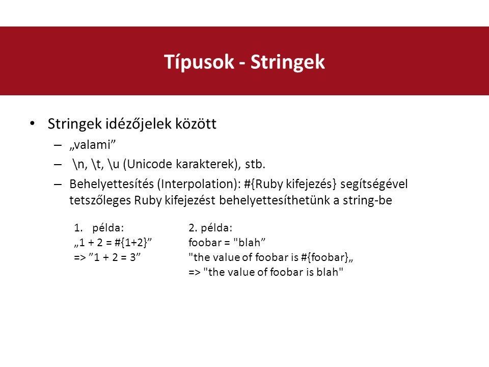 """Stringek idézőjelek között – """"valami – \n, \t, \u (Unicode karakterek), stb."""