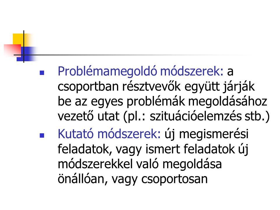 Problémamegoldó módszerek: a csoportban résztvevők együtt járják be az egyes problémák megoldásához vezető utat (pl.: szituációelemzés stb.) Kutató mó