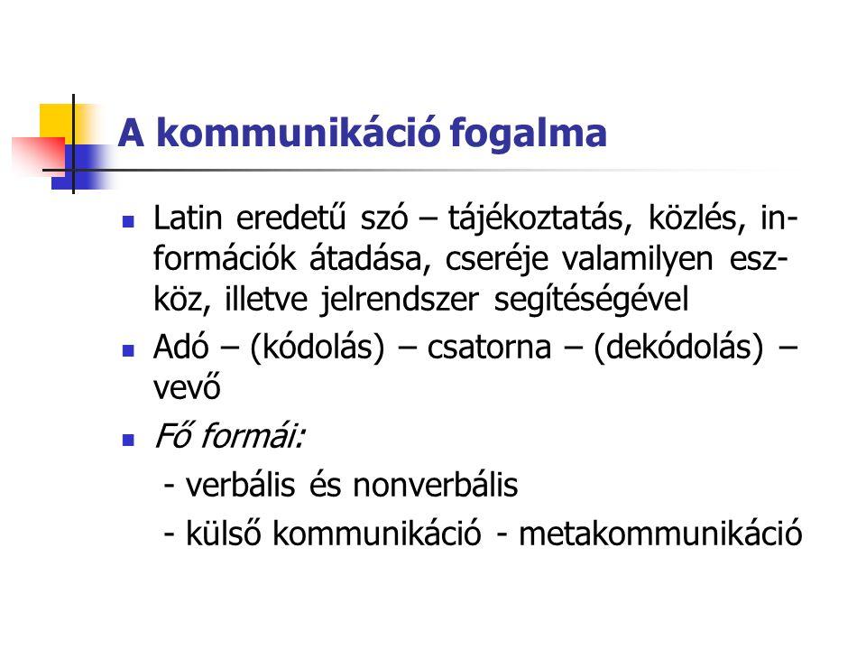 A kommunikáció fogalma Latin eredetű szó – tájékoztatás, közlés, in- formációk átadása, cseréje valamilyen esz- köz, illetve jelrendszer segítéségével