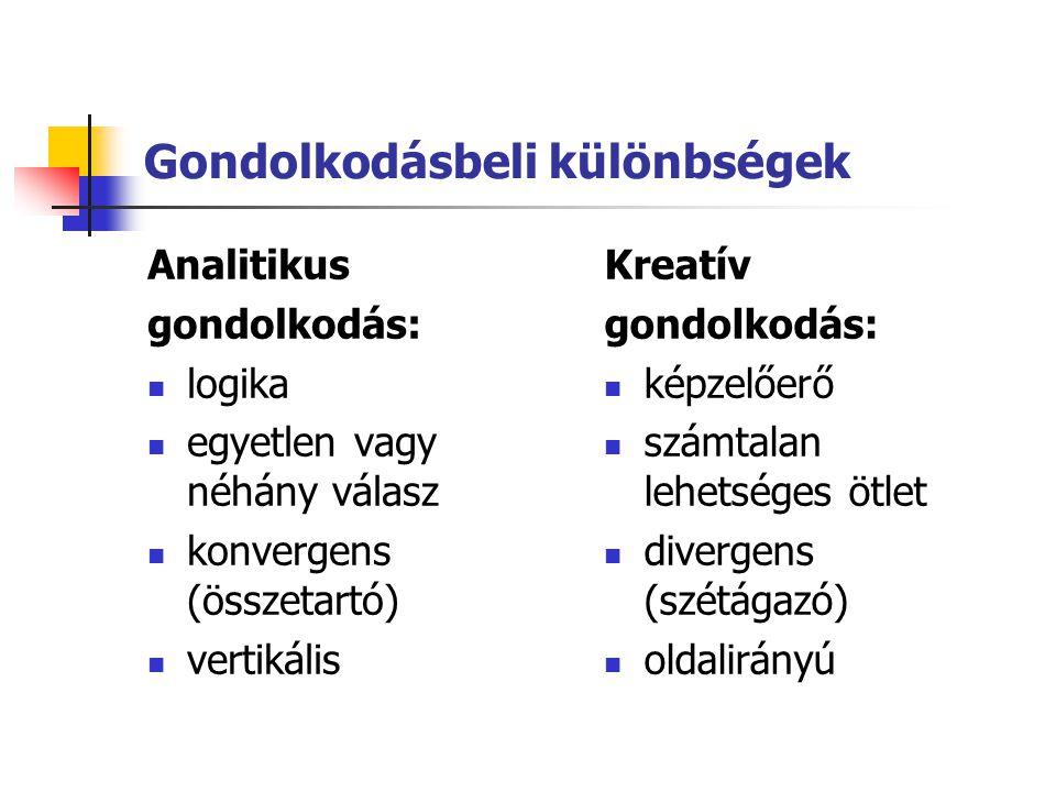 Gondolkodásbeli különbségek Analitikus gondolkodás: logika egyetlen vagy néhány válasz konvergens (összetartó) vertikális Kreatív gondolkodás: képzelő