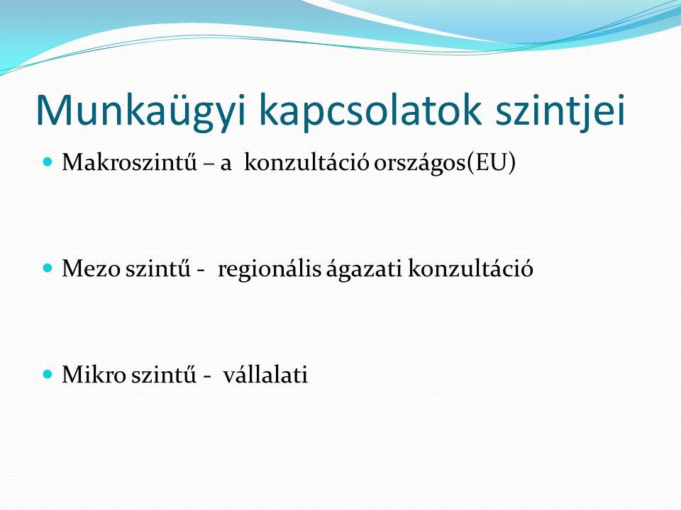 Munkaügyi kapcsolatok szintjei Makroszintű – a konzultáció országos(EU) Mezo szintű - regionális ágazati konzultáció Mikro szintű - vállalati
