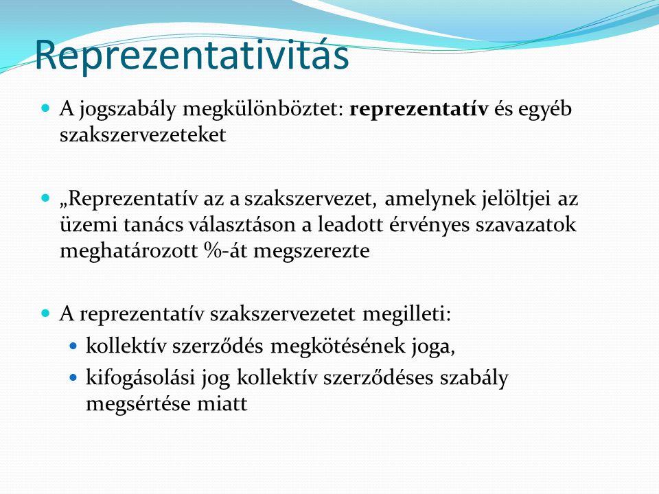 """Reprezentativitás A jogszabály megkülönböztet: reprezentatív és egyéb szakszervezeteket """"Reprezentatív az a szakszervezet, amelynek jelöltjei az üzemi"""