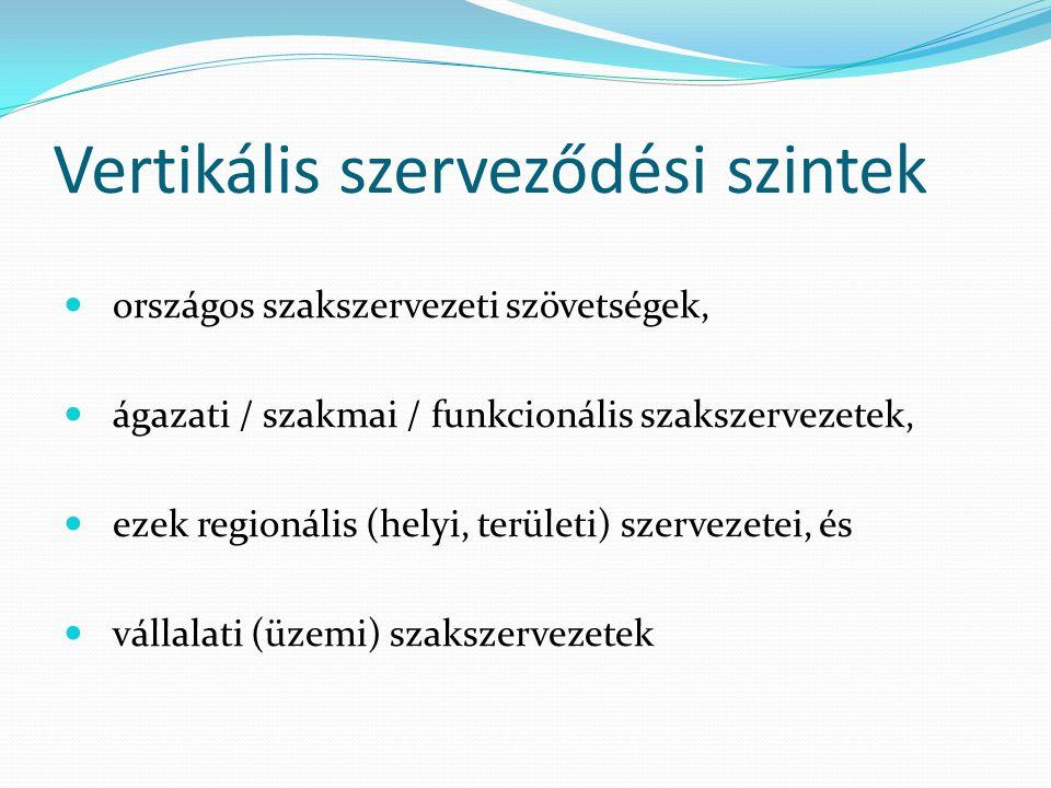 Vertikális szerveződési szintek országos szakszervezeti szövetségek, ágazati / szakmai / funkcionális szakszervezetek, ezek regionális (helyi, terület