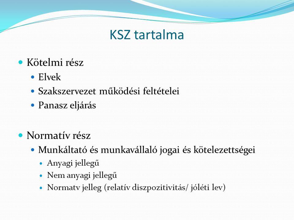 KSZ tartalma Kötelmi rész Elvek Szakszervezet működési feltételei Panasz eljárás Normatív rész Munkáltató és munkavállaló jogai és kötelezettségei Any